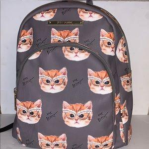 BETSEY JOHNSON Gray Kitty Cat BACKPACK bag